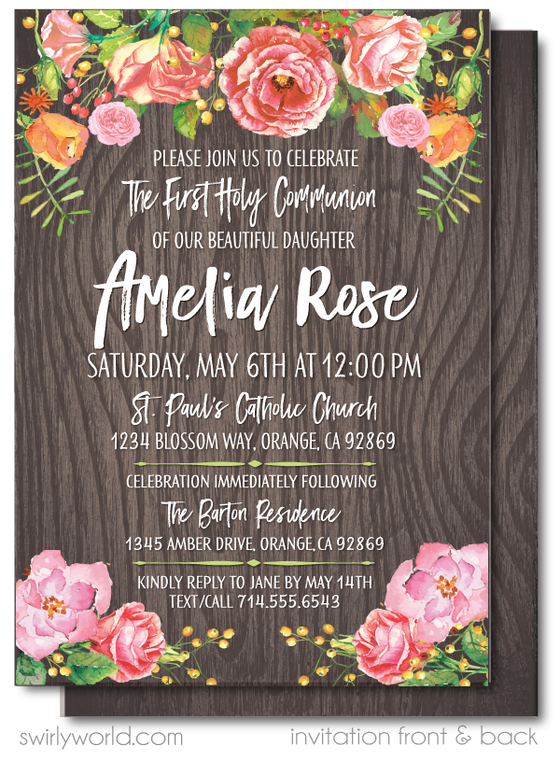 Girl's Rustic Wood First 1st Holy Communion Invitation Digital Download