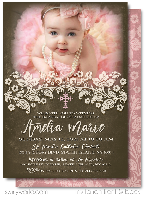 Vintage Pink Lace Girls' Baptism Invitation Digital Download