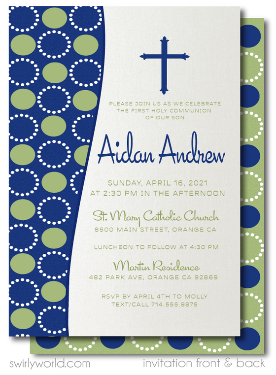 Retro Modern First 1st Holy Communion Invitations for Boys