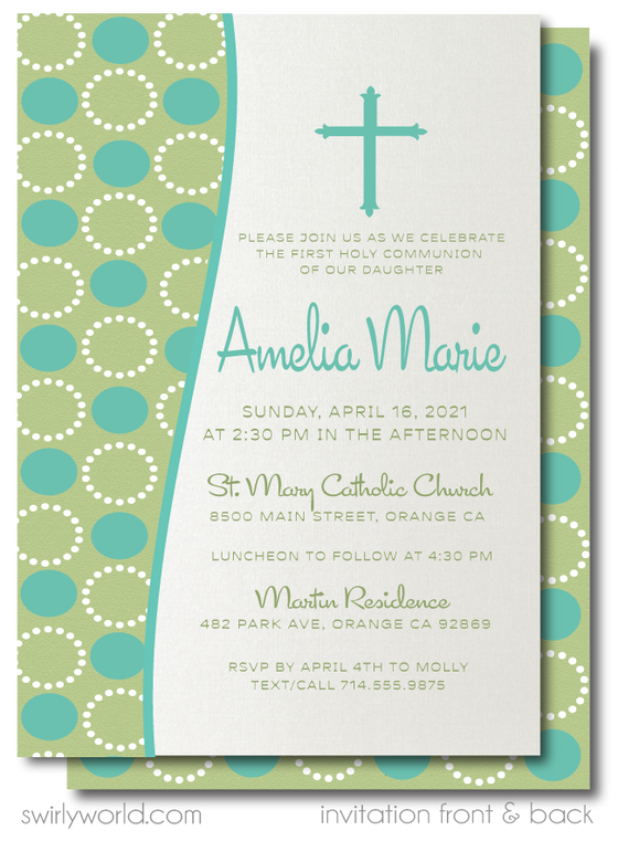 Retro Modern Boy or Girl First 1st Holy Communion Invitation Digital Download