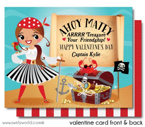 Pirate Valentine's Day Cards for Girls Digital Download