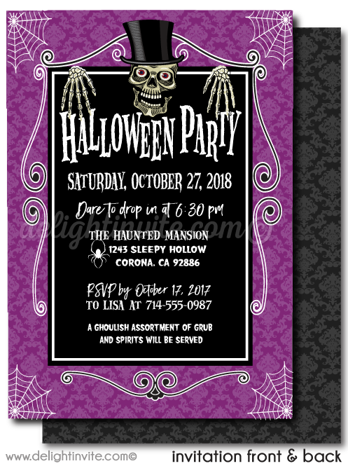 Digital Spooky Skeleton Halloween Party Invitations, Adult Halloween Party Invitations, Cocktail Boos and Booze Halloween Party Invites