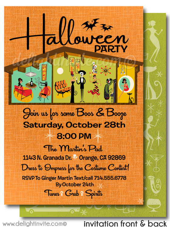 Retro Mod Eichler Halloween Party Invitations, Mid Century Modern Halloween Party Invites, Cocktail Retro Modern Halloween Party Invites