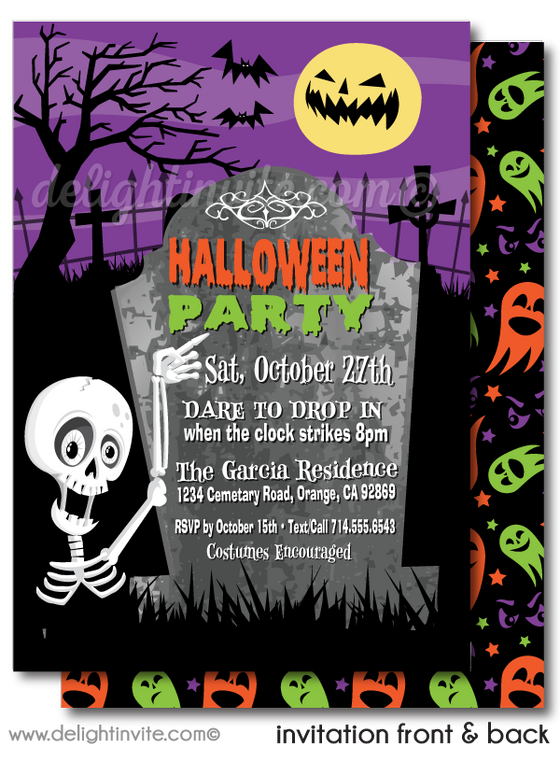 Skeleton Graveyard Non-Scary Halloween Party Invitations