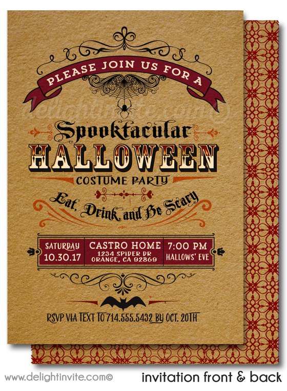 Classy Adult Halloween Party Invitations