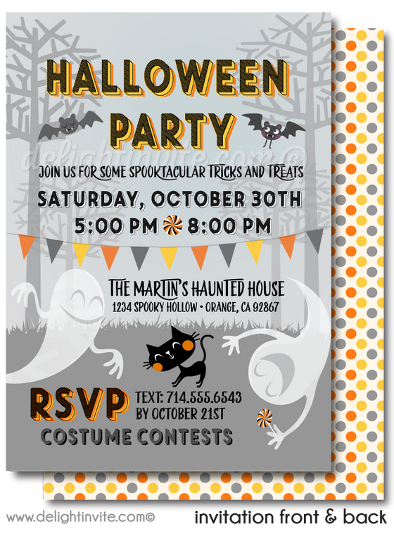 Child-Friendly Cute Halloween Costume Party Invitations