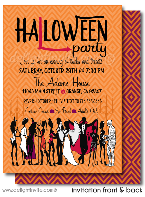 Costumes and Cocktails Adult Halloween Invitations