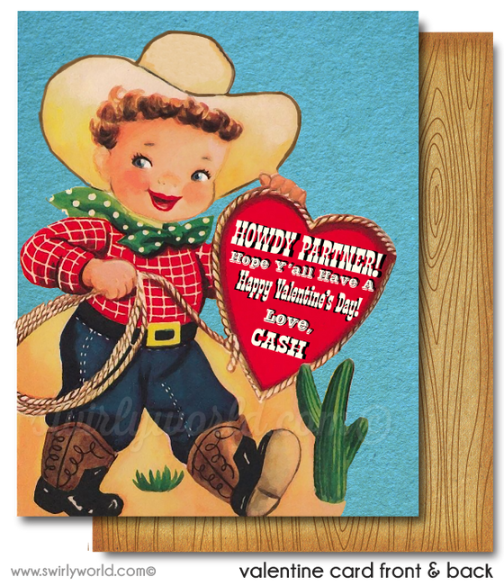 Vintage Fifties 1950's Cowboy Valentine's Day Card Digital Printable Download
