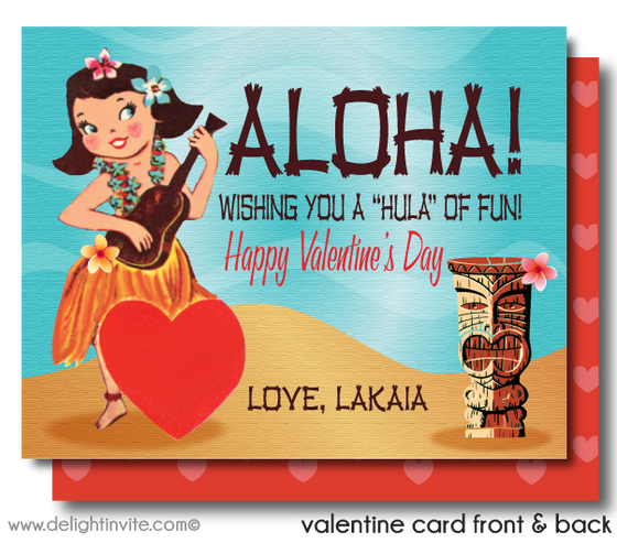 Vintage 1950's Hula Girl Valentine's Day Card Digital Printable Download