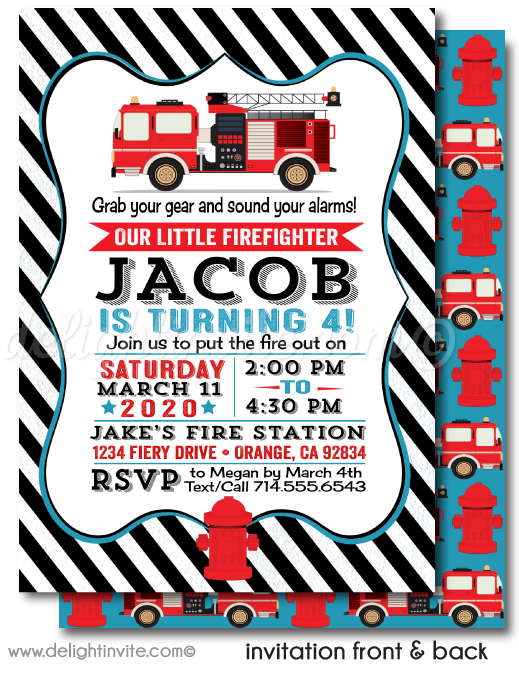 Fireman First Birthday Invitations. Fire Truck Birthday Party. Fire Fighter Birthday Party Digital Download