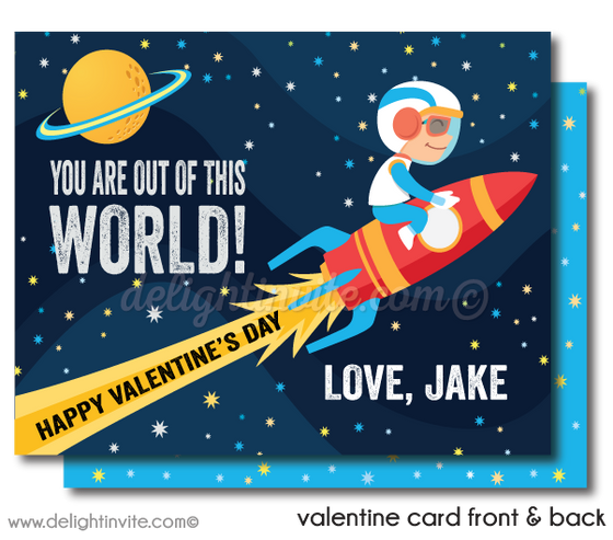 Retro Space Rocket Astronaut Nasa Valentine's Day Cards for Digital Download