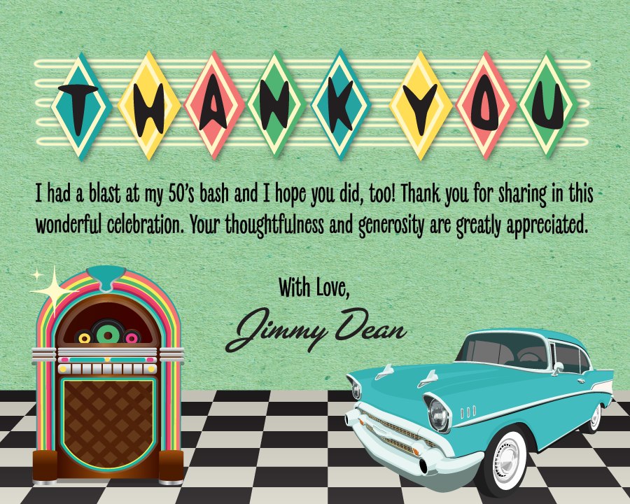 1950's Retro Jukebox Sock Hop Birthday Party Design with Thank You Cards. Fifties Shake, Rattle, & Roll Grease Party Digital Download