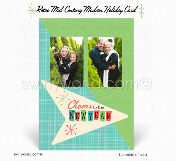 Retro 1950's Atomic Mid-Century Modern Christmas Printed Holiday Family Photo Cards