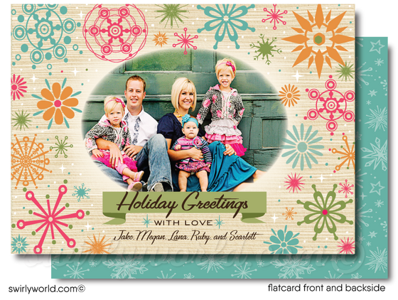 Retro Atomic Modern Mid-Century Merry Christmas Holiday Photo Cards