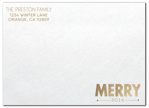 Gold Glittery Merry Christmas Holiday Photo Cards