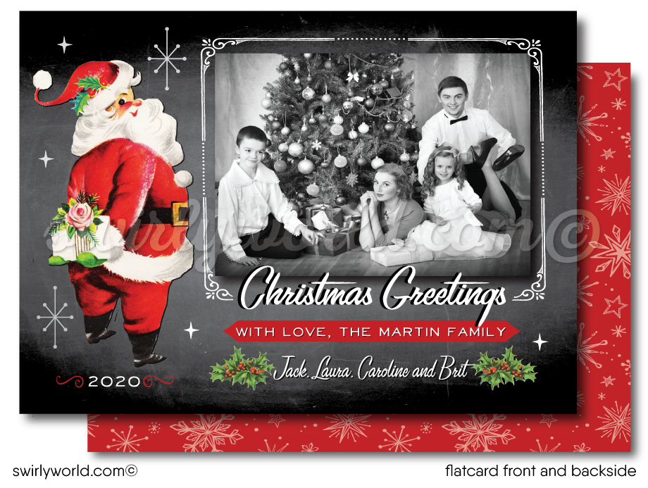 Vintage Retro Mid-Century 1950s Santa Claus Merry Christmas Holiday Photo Cards