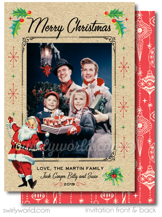 Retro 1950's Mid-Century Modern Christmas Printed Holiday Family Photo Cards