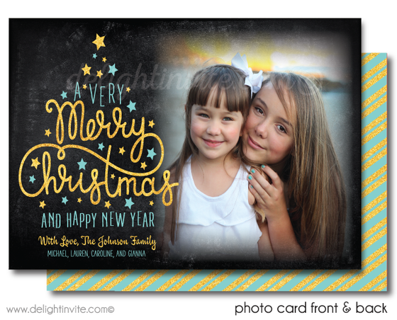 Whimsical Gold and Blue Merry Christmas Holiday Photo Cards
