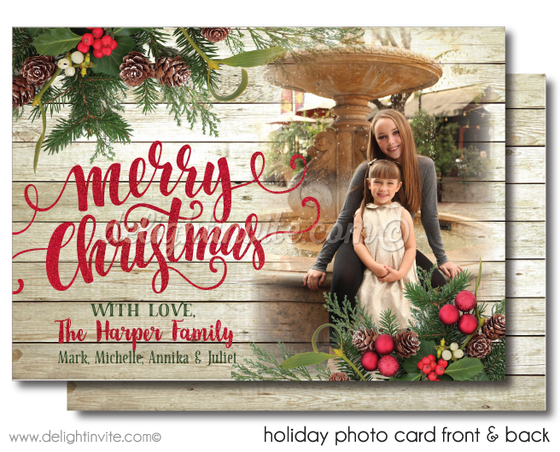 Calligraphy Woodsy Merry Christmas Holiday Photo Cards