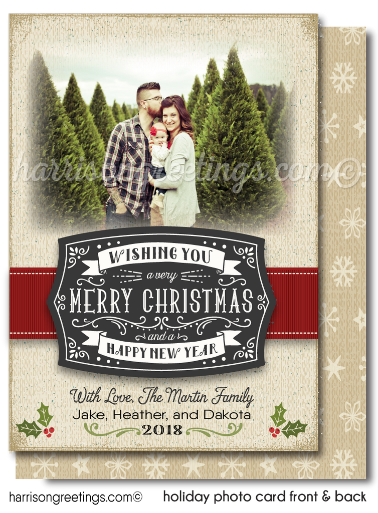 Rustic Vintage Old Fashioned Merry Christmas Holiday Family Photo Cards Printed