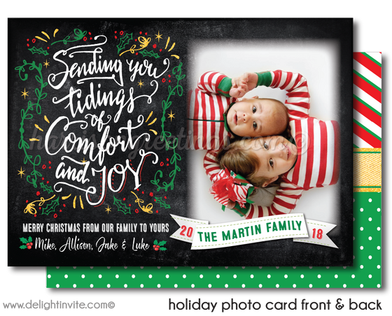 Retro Calligraphy Typography Christmas Holiday Family Photo Cards Printed