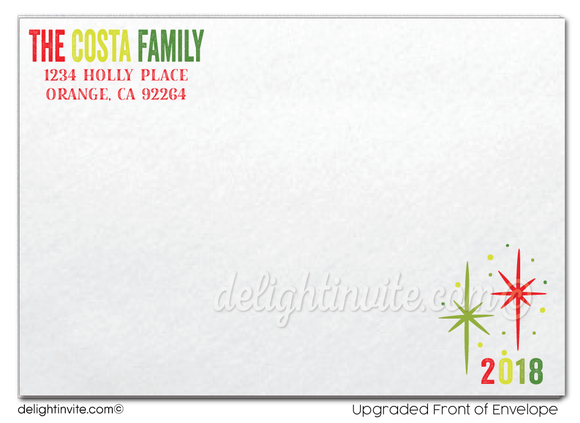 Retro Mod Merry Christmas Holiday Photo Cards