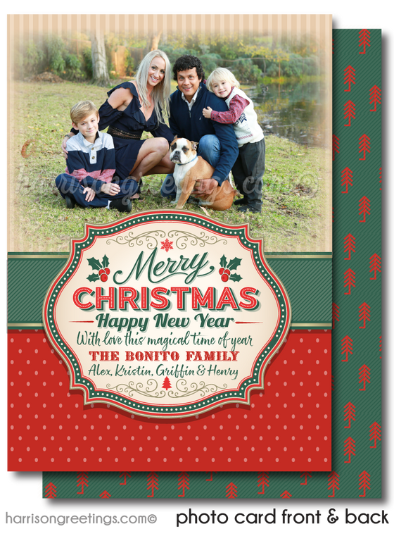Rustic Vintage Merry Christmas Holiday Photo Cards