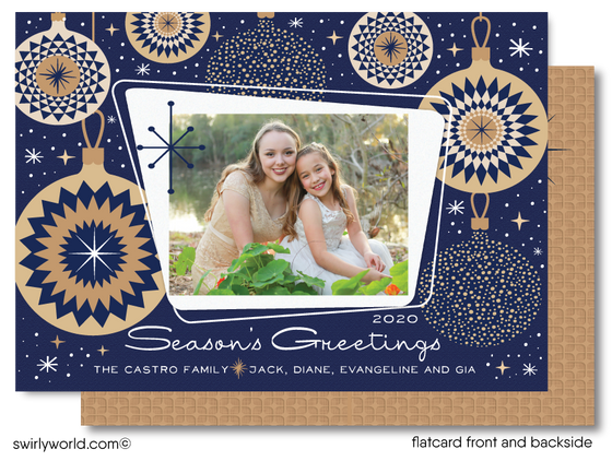 Retro Atomic Mod Navy Blue and Gold Family Christmas Printed Holiday Photo Cards