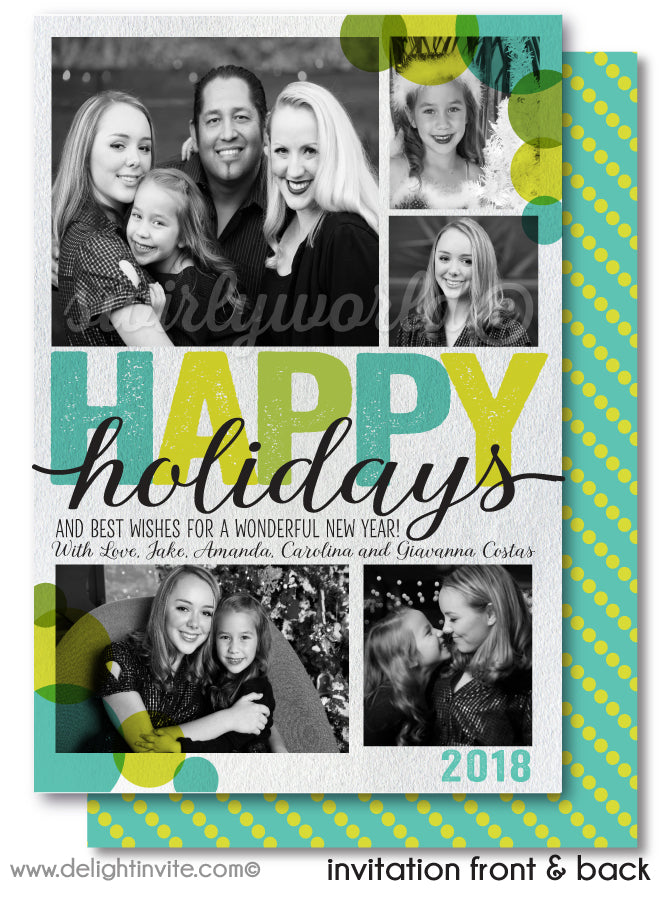 Retro Mod Blue and Green Merry Christmas Happy Holiday Photo Cards