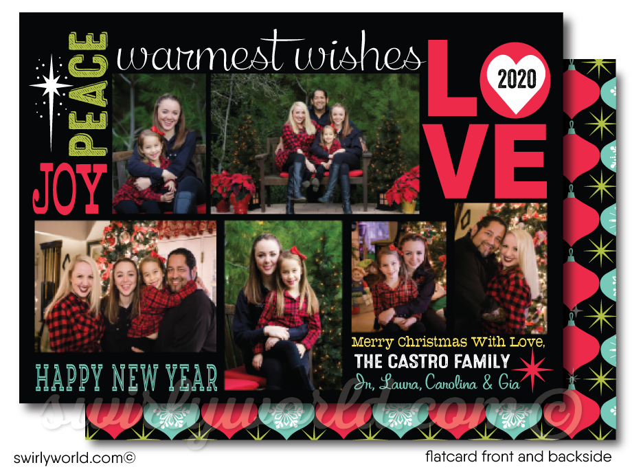 Unique Retro Modern Merry Christmas Holiday Family Collage Photo Cards