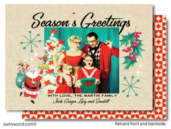 Retro Atomic Mid-Century Modern Holiday Family Photo Cards Printed