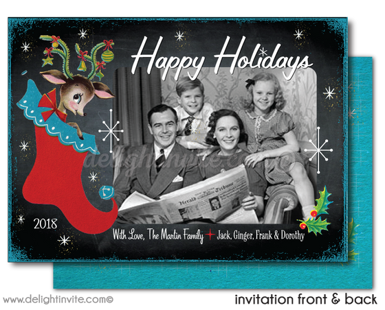 Vintage Retro 1950s Merry Christmas Holiday Photo Cards