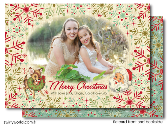 Retro Atomic Mid-Century Modern Snowflakes Christmas Holiday Family Photo Cards Printed