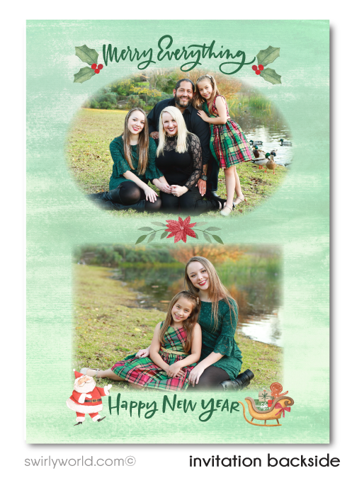 Unique Whimsical Retro Christmas Holiday Family Photo Cards Printed
