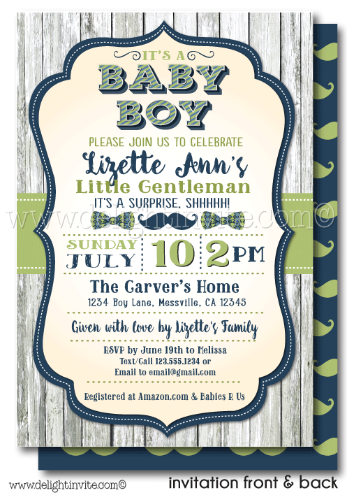 "Do you love mustaches and bow ties? This hipster, mustache, and bow-tie, ""Little Gentleman"" theme baby shower invite is so cute. Little Gentleman Baby Shower Invites, Hipster Mustache Baby Shower. Bowtie Hipster Baby Shower Invites. It's a boy! Little Gentleman is on the way. Boy baby. Blue and Green boy baby shower."