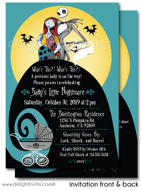 Halloween Nightmare Before Christmas Jack and Sally Printed Baby Shower Invitations