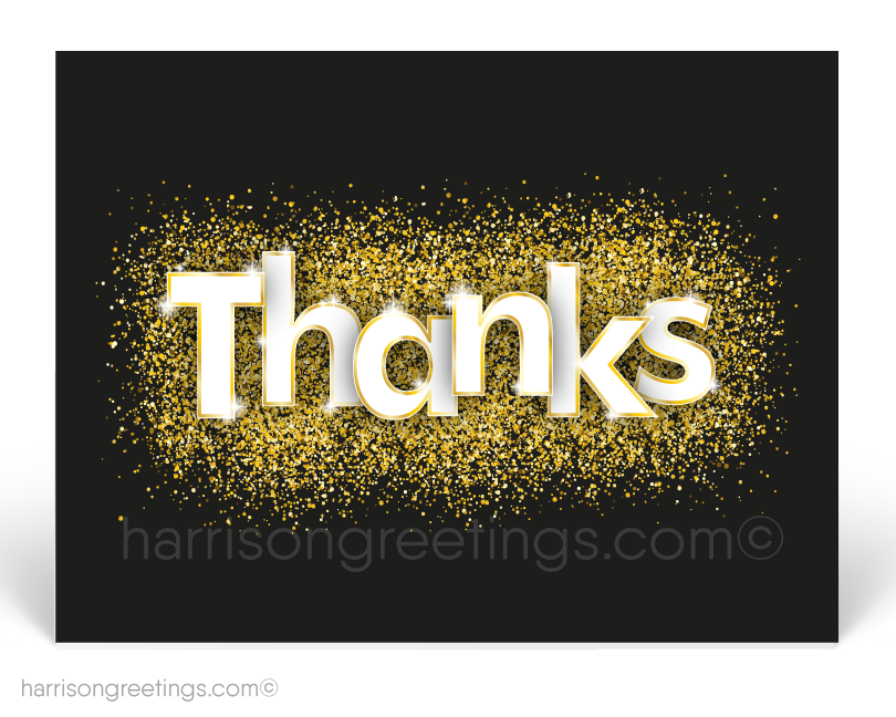Modern Gold Thank You Client Postcards
