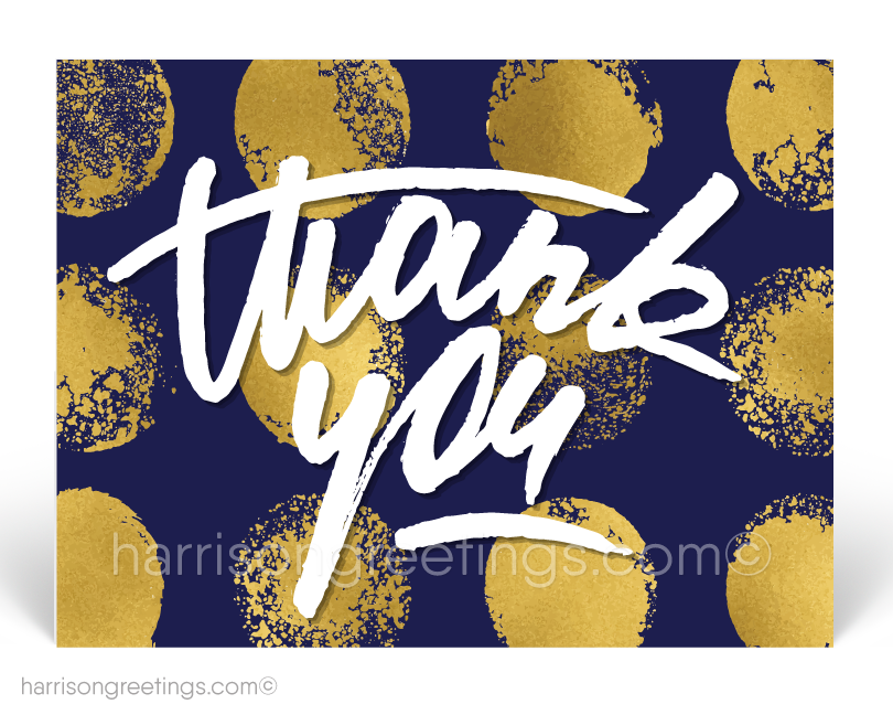 Modern Navy Gold Thank You Client Postcards