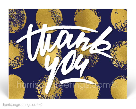Modern Navy and Gold Thank You Postcards for Customers
