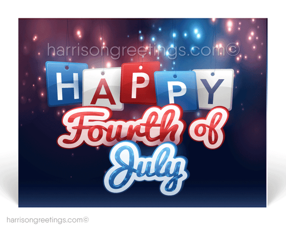 Modern Patriotic 4th of July Postcards for Business