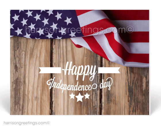 Rustic Patriotic 4th of July Postcards for Business