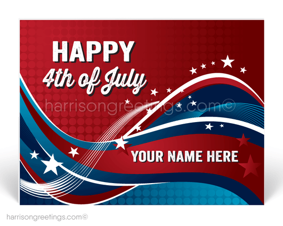 Patriotic 4th of July Postcards for Business