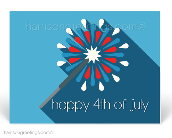 retro modern mid-century fourth of july postcards. July 4th postcard marketing.