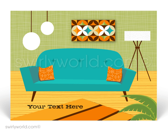 Retro Mid-Century Modern Living Room Furniture  Eichler Design Postcards