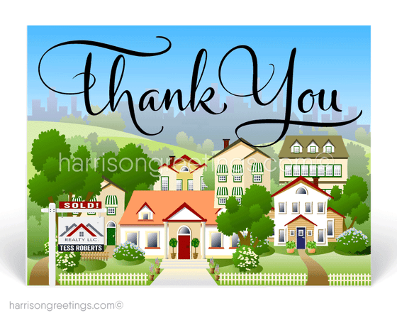 "Suburban Neighborhood Houses ""Thank You"" Postcards for Realtors"