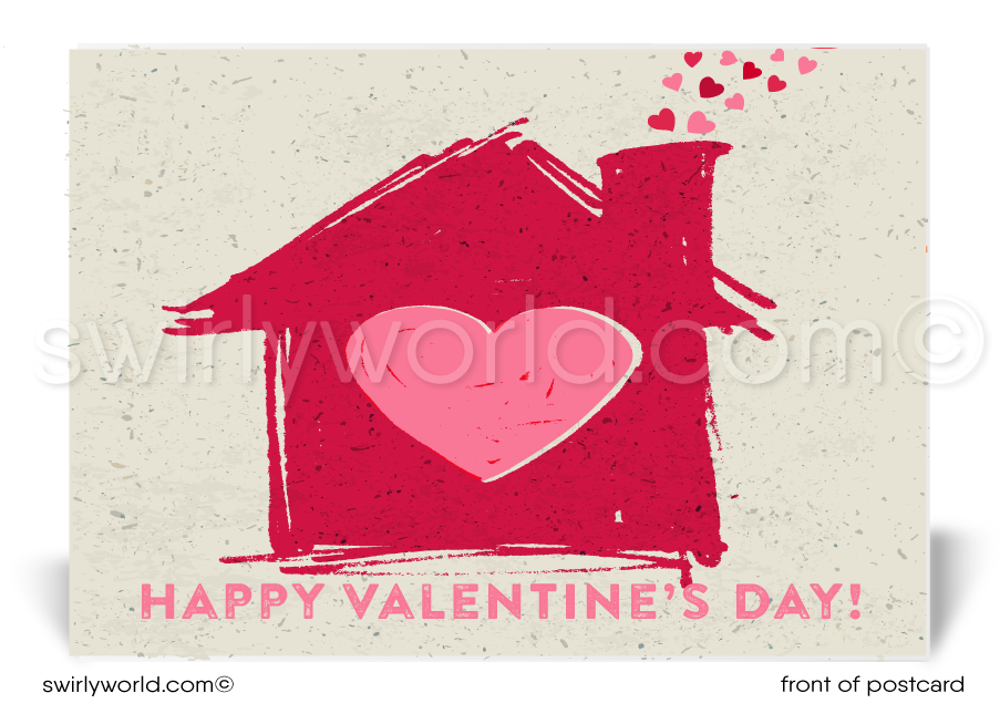 Home With Hearts Happy Valentine's Day Postcards for Realtors
