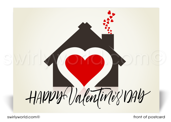 Beautiful and unique happy Valentine's Day postcards made especially for Realtors.