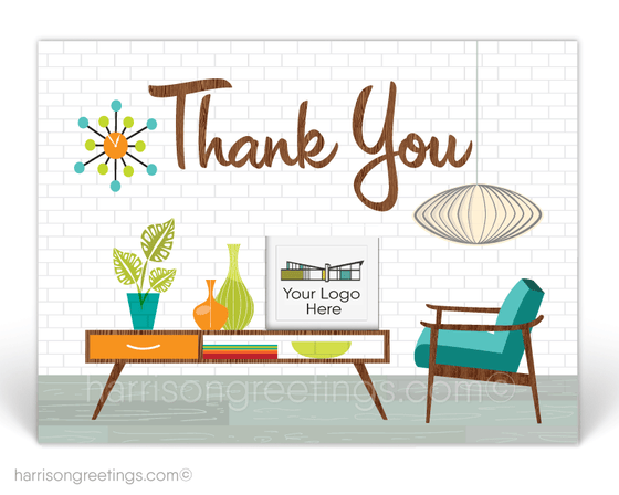 Retro Modern Thank You Postcards for Realtors