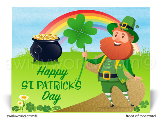 Cartoon Leprechaun Business Happy St. Patrick's Day Postcards