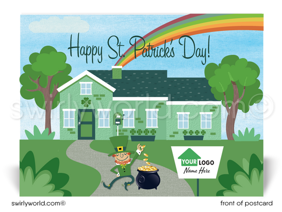 Cute Realtor House Happy St. Patrick's Day Postcards for Clients